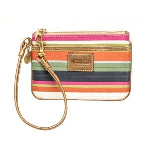 Coach Multicolor Legacy Stripe Silk Wristlet